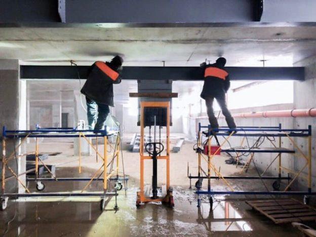 Усиление перекрытия металлоконструкциями
