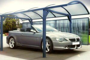 Навес для авто из металла и поликарбоната