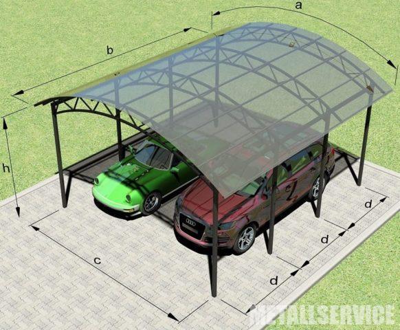 Навес из поликарбоната и металла для авто